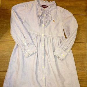 Ralph Lauren Ruffle Collared Button Down Dress